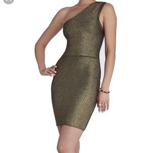 BCBG One Shoulder Gold Dress